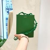 編織包網紅同款極簡氣質2019夏季側背斜背包包女編織繩子綠色小方包 嬡孕哺