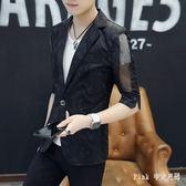PINK中大尺碼風衣 休閒男士七分中袖防曬衣新款韓版修身帥氣薄外套白色短款風衣男 LC2178