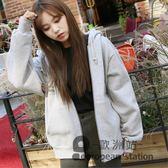 連帽外套/衛衣新款女加絨加厚秋冬韓版學生寬鬆慵懶風開衫拉鏈「歐洲站」