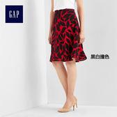 Gap女裝 葉子圖案半身短裙 194275-黑白撞色
