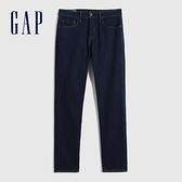 Gap男裝 基本款修身直筒牛仔褲 700718-深藍色