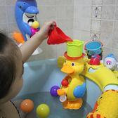 寶寶洗澡玩具小孩子玩水兒童沐浴海豚大黃鴨嬰兒浴室戲水手動水車