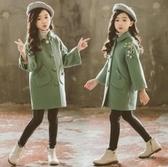 女童毛呢外套 女童毛呢外套秋冬裝新款韓版兒童中大童中長款呢子加厚大衣潮 麗人印象 免運