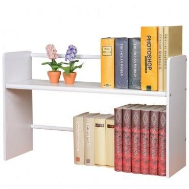 【Homelike】和風伸縮式桌上書架(二色可選)純白色