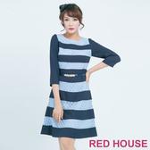 【RED HOUSE 蕾赫斯】條紋蕾絲七分袖洋裝(藍色)