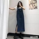 牛仔連身裙深藍色開叉牛仔裙背帶裙女寬松夏季復古瘦中吊帶秋冬 HR815【俏美人大尺碼】