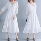 胖妹妹大碼洋裝連身裙~3025# 文藝小清新蕾絲鏤空抽繩系帶連身裙MB071愛尚布衣