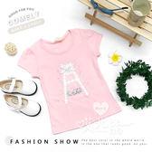 純棉 甜美蕾絲貼鑽雕花字母A上衣 粉色 可愛 甜美 短袖 女童【哎北比童裝】