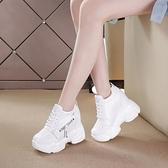 韓版百搭內增高小白鞋加絨休閒鞋女春秋季款坡跟12cm超高跟女鞋 元旦全館免運