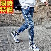 牛仔褲-丹寧撞色鬆緊彈力修身男休閒長褲66ad49【巴黎精品】