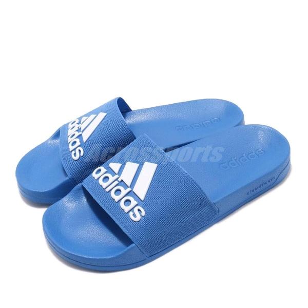 adidas 拖鞋 Adilette Shower 藍 白 運動拖鞋 男鞋 女鞋 涼拖鞋 舒適好穿【PUMP306】 F34769
