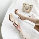 透明高跟涼鞋女2020夏歐美新款一字厚底防水臺性感水晶沙灘涼拖鞋 傑克型男館