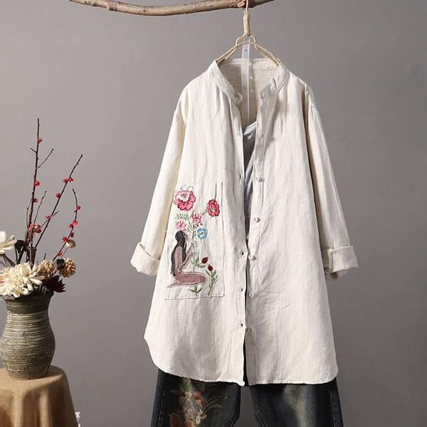 歐美刺繡風長版襯衫外套-大尺碼 獨具衣格