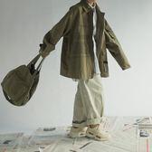 風衣 日系復古軍旅工裝風夾克寬鬆BF阿美咔嘰多口袋秋季外套潮男女風衣