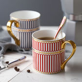 情侶骨瓷馬克杯子咖啡杯英國手工描金歐式骨瓷馬克杯陶瓷下午茶杯   初見居家