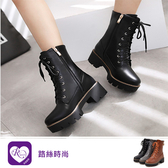 歐美復古英倫風綁帶拉鍊造型低跟個性短靴/3色/35-43碼(RX1064-911) iRurus 路絲時尚