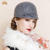 秋冬羊毛帽休閒百搭毛呢馬術帽英倫圓頂小禮帽【奈良優品】
