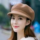 帽子女士韓版季羊毛呢貝雷帽英倫氣質時尚百搭鴨舌八角帽禮帽【果果新品】