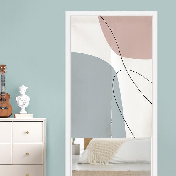 北歐簡約抽象莫蘭迪色塊門簾 隔斷簾 風水簾 尺寸可訂製 (寬65*高90cm)