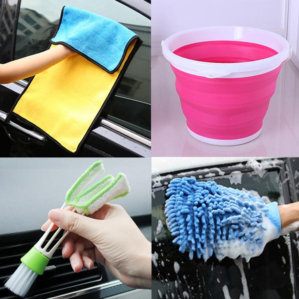 送清潔刷 車用清潔組 四合一 擦車巾 + 摺疊水桶 + 洗車手套 洗車 汽車美容 『無名』 N05108