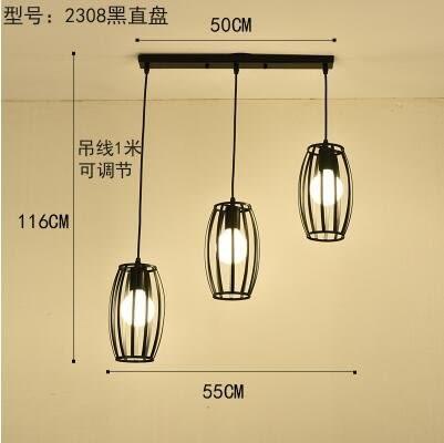 2308黑直盤款北歐餐廳吊燈創意個性餐廳燈飯廳燈現代鐵藝
