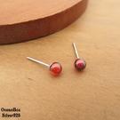 §海洋盒子§簡單自然。紅色石榴石球球造型925純銀貼耳耳環 (925純銀外鍍專櫃級正白K)