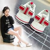 小白鞋女新款百搭韓版學生街拍帆布鞋透氣系帶平底休閒板鞋