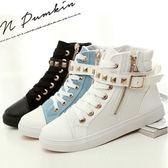 (全館一件免運)DE shop - 鉚釘骷髏頭帆布鞋側拉鍊高筒鞋靴  35-40號【CC - 1223】