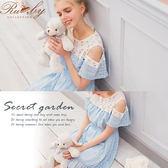 洋裝 露比設計露肩假兩件格紋花朵短袖洋裝-Ruby s 露比午茶