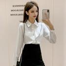 限時特價 秋季韓版新款時尚寬松長袖襯衫女顯瘦翻領刺繡打底衫上衣