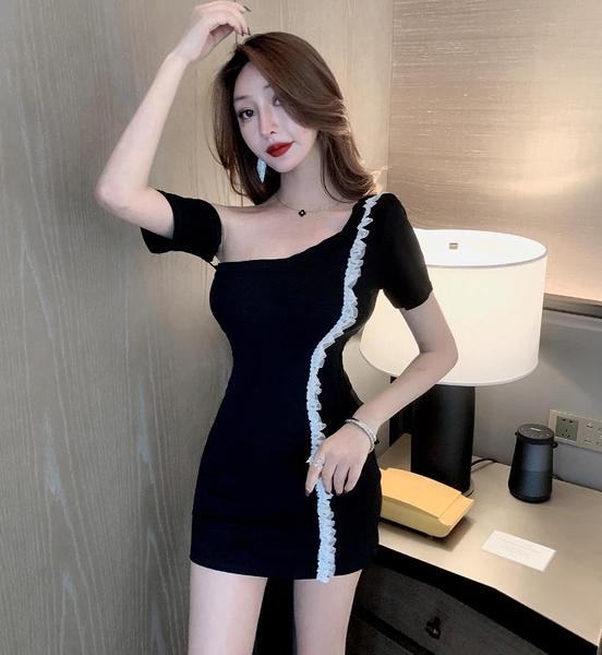 出清288 韓國風顯瘦不規則性感露肩網紗邊包臀短袖洋裝