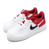 Nike 休閒鞋 Air Force 1 07 LV8 1 GS 白 紅 女鞋 大童鞋 運動鞋 NBA 【PUMP306】 CK0502-600