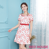 【RED HOUSE 蕾赫斯】花朵刺繡洋裝(紅色)