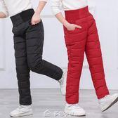 兒童羽絨棉褲男童女童外穿加厚長褲冬季高腰寶寶保暖褲 多色小屋