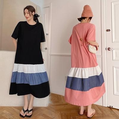 胖妹妹大碼洋裝連身裙~8802#長款大碼拼接裙擺短袖連身裙DC109胖妹大碼女裝