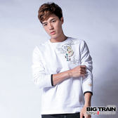 BIG TRAIN 火燄惡面圓領長袖T-男-白色
