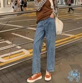 直筒牛仔褲女 牛仔闊腿褲女秋裝2019新款寬鬆高腰直筒褲子復古藍垂感  艾森堡家居