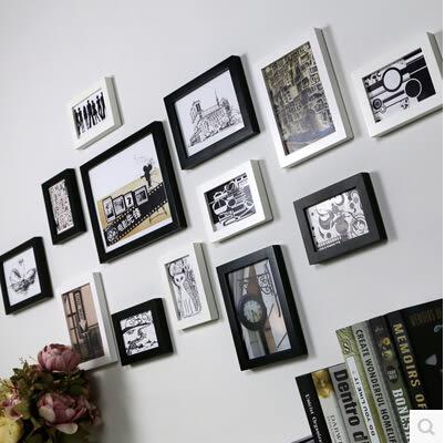 精美相框牆 實木相框組合 現代簡約照片牆 相框牆客廳臥室相片牆