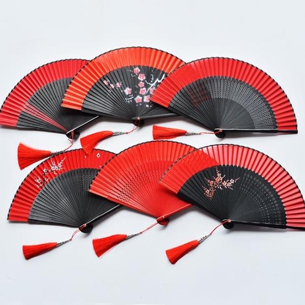 中國風古典女式隨身折扇蹦迪酒吧舞蹈扇子漢服日式開合順滑手感好 怦然新品