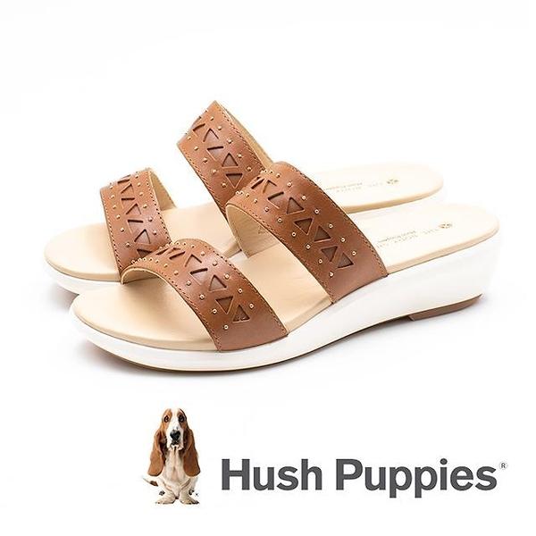 【南紡購物中心】Hush Puppies 幾何拼接雙帶增高涼鞋 女鞋-棕