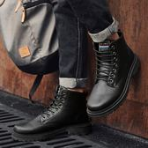 馬丁靴 秋男高筒馬丁靴男士中筒皮靴男正韓百搭黑色皮靴軍靴子 酷我衣櫥