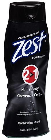 Zest 男士保濕滋潤洗髮+沐浴乳(二合一)532ml/瓶{嘉家生活網}