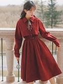洋裝 燈芯絨洋裝女秋冬季年新款本命年紅色時尚裙子冬裙