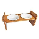 【寵愛家】職人木匠 可調式寵物原木餐桌附瓷碗-雙碗