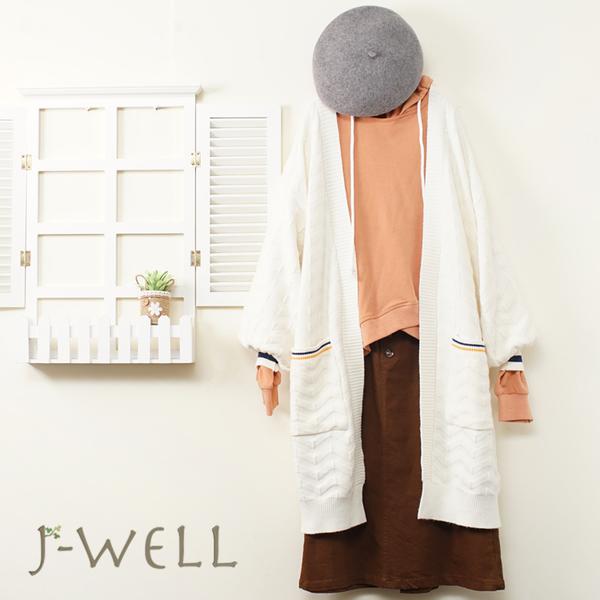 J-WELL 織紋針織外套素面帽T超彈力顯瘦裙三件組(組合A729 9J1158白+9J1086橘+9J1092咖)