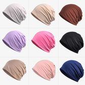 頭巾冰爽透氣薄包頭帽化療睡帽 素面月子頭巾帽男女夏季不過敏帽 九色