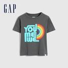 Gap男幼童 布萊納系列 純棉動物印花短袖T恤 697998-藍灰色