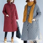 棉麻外套秋冬民族風印花中長款寬鬆大碼加厚長袖棉麻棉衣棉襖外套女保暖  迷你屋 新品