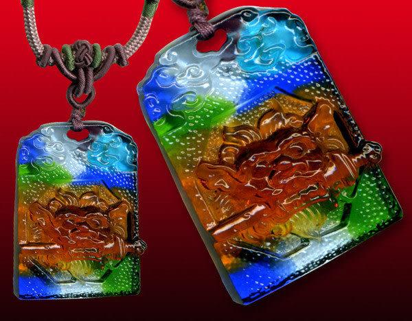 鹿港窯~居家開運水晶琉璃項鍊~咬劍獅 佩 附精美包裝◆免運費送到家