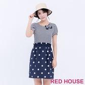 RED HOUSE-蕾赫斯-圓點條紋鬆緊合身洋裝(藍色)